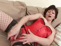 Aged Brunette Toys Her Hairy Pussy 1