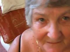 Grandmas hairy pussy in POV closeup shots as it is teased by this rampant cock  Just watch the hot stream of cum shoot all over my chin neck and big boobs  dripping down on to my shiny black pvc basque and my soft round fat belly  This guy shoots for Engl