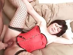 Horny stud is fingering and fucking grandma`s hairy cunt.