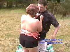 With all the great weather recently i was able to tempt Curvy Claire out for a ramble in the countryside well with one thing and another and happening across a handy picnic blanket it wasnt long before me and Claire were getting down to some hot sloppy or