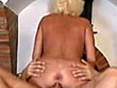 Slutty blonde grandma Dorothy riding a huge young dick