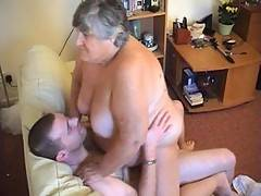 Getting fucked hard is just what Grandma Libby likes and here you see my young lover take me in lots of different positions on my back with legs over his shoulders from behind and with me sitting on his lap driving his hard cock deep inside me