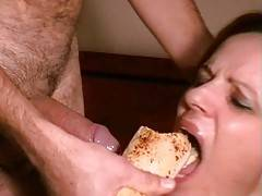 After hard Deepthroat he ordered me to lick his asshole I did it obedient and fucked his ass with my tongue After that he was ready to come so he deepthroated me and inserted the rest of the French loaf into my mouth He finished over my face and the he fo